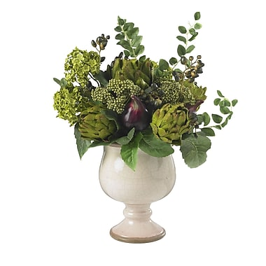 Nearly Natural 4759 Artichoke and Hydrangea Floral Arrangements, Green