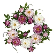 "Nearly Natural 4788 22"" Peony Wreath, Pink"