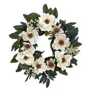 "Nearly Natural 4793 22"" Magnolia Wreath, White"