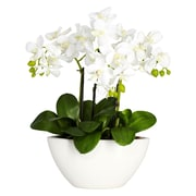 Nearly Natural 4804 Phalaenopsis Silk Floral Arrangements, White