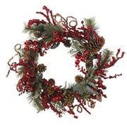 "Nearly Natural 4838 24"" Assorted Berry Wreath, Red"
