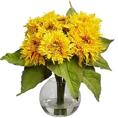 Nearly Natural 4906 Golden Sunflower Floral Arrangements, Yellow