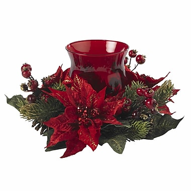 Nearly Natural 4920 Poinsettia Candelabrums, Red