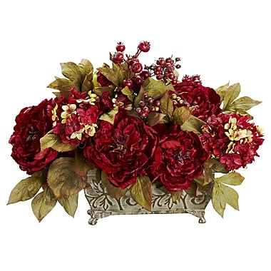 Nearly Natural 4929 Peony and Hydrangea Silk Floral Arrangements, Red