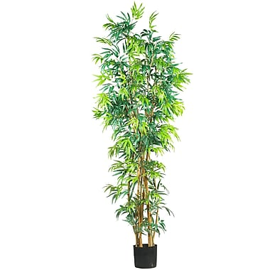 Nearly Natural 5189 7' Curved Bamboo Silk Tree in Pot
