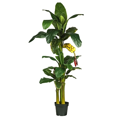 Nearly Natural 5226 6' Triple Stalk Banana Tree in Pot