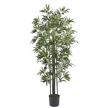 Nearly Natural 5294 6' Bamboo Tree Green Trunks in Pot