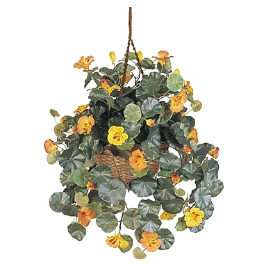 Nearly Natural 6025 Nasturtium Silk Hanging Plant in Basket