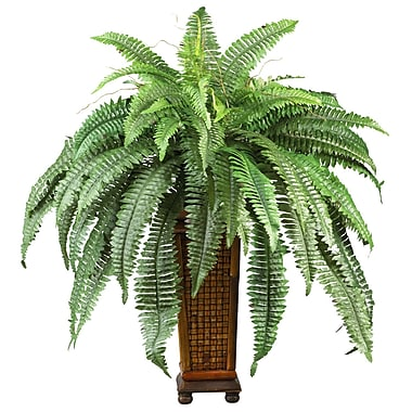 Nearly Natural 6553 Boston Fern Floor Plant in Decorative Vase