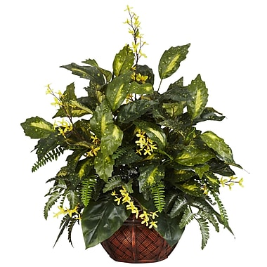 Nearly Natural 6644 Forsythia and Mixed Greens Plant in Pot