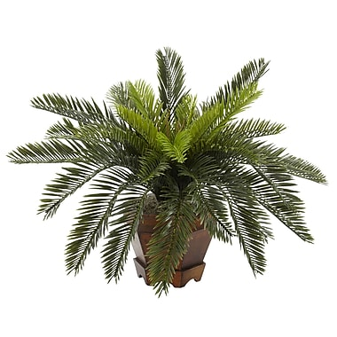 Nearly Natural 6657 Cycas in Hexagon Vase Plant in Pot