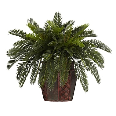 Nearly Natural 6658 Double Cycas Desk Top Plant in Decorative Vase