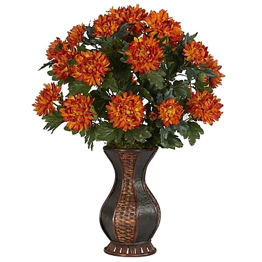 Nearly Natural 6664 Spider Mum Desk Top Plant in Decorative Vase