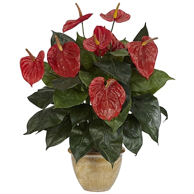 Nearly Natural 6665 Anthurium Plant in Pot 1232483