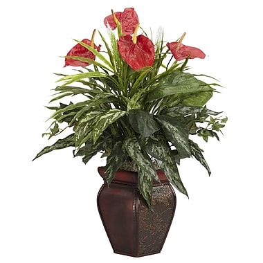 Nearly Natural 6678 Mixed Greens and Anthurium Desk Top Plant in Decorative Vase