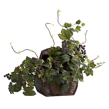 Nearly Natural 6682 Grape Leaf Desk Top Plant in Decorative Vase