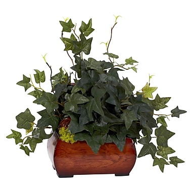 Nearly Natural 6683 Puff Ivy Desk Top Plant in Decorative Vase