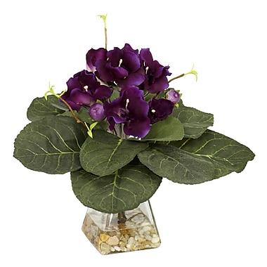 Nearly Natural 6689 Gloxina Desk Top Plant in Decorative Vase