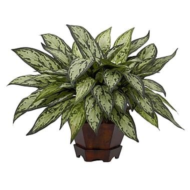 Nearly Natural 6696 Triple Silver Queen Silk Desk Top Plant in Decorative Vase