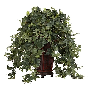 Nearly Natural 6702 Vining Puff Ivy Silk Floor Plant in Decorative Vase
