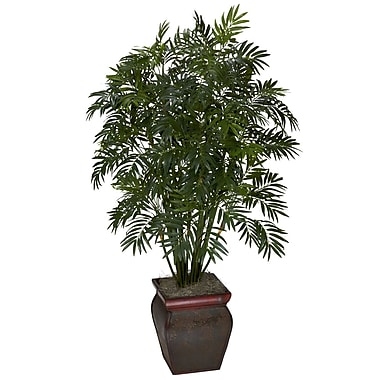 Nearly Natural 6717 Mini Bamboo Palm Silk Floor Plant in Decorative Vase