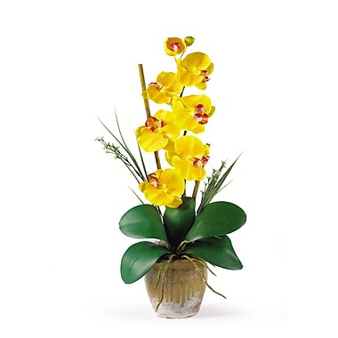 Nearly Natural 1016-GY Phalaenopsis Floral Arrangements, Yellow