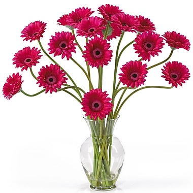 Nearly Natural 1086-BU Gerber Daisy Floral Arrangements, Beauty pink