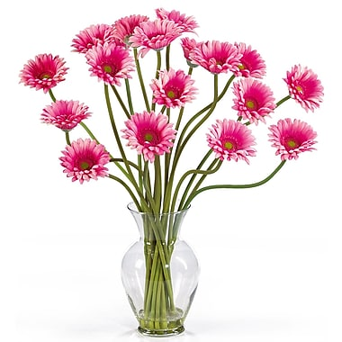 Nearly Natural 1086-PK Gerber Daisy Floral Arrangements, Pink