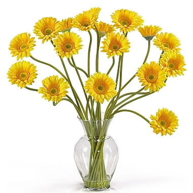 Nearly Natural 1086-YL Gerber Daisy Floral Arrangements, Yellow