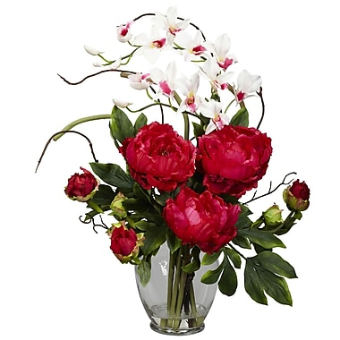 Nearly Natural 1175-RD Peony and Orchid Floral Arrangements, Red