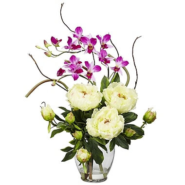 Nearly Natural 1175-WH Peony and Orchid Floral Arrangements, White