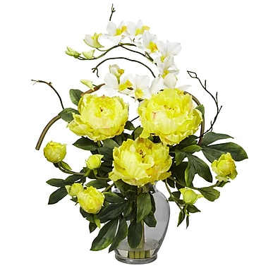 Nearly Natural 1175-YL Peony and Orchid Floral Arrangements, Yellow