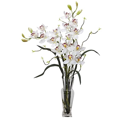 Nearly Natural 1183-WH Cymbidium Arrangements, White
