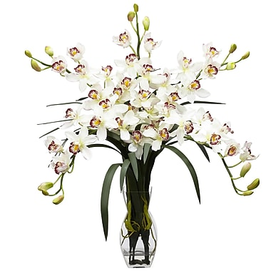 Nearly Natural 1184-WH Cymbidium Orchid, White