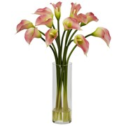 Nearly Natural 1187-PK Mini Calla Lily Arrangements, Pink