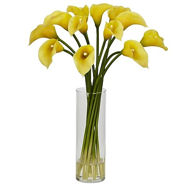 Nearly Natural 1187-YL Mini Calla Lily Arrangements, Yellow