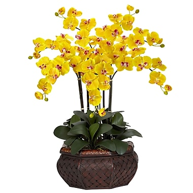Nearly Natural 1201-YL Large Phalaenopsis Floral Arrangements, Yellow