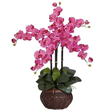 Nearly Natural 1211-DP Phalaenopsis with Vase Floral Arrangements, Dark pink