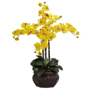 Nearly Natural 1211-YL Phalaenopsis with Vase Floral Arrangements, Yellow