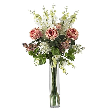 Nearly Natural 1220-PK Rose Delphinium and Lilac Floral Arrangements, Pink