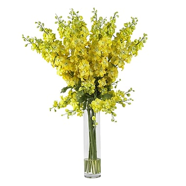 Nearly Natural 1224-YL Delphinium Floral Arrangements, Yellow