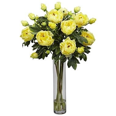 Nearly Natural 1230-YL Peony Cylinder Floral Arrangements, Yellow