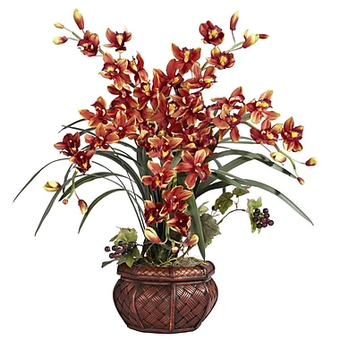 Nearly Natural 1245-BR Cymbidium Floral Arrangements, Burgundy