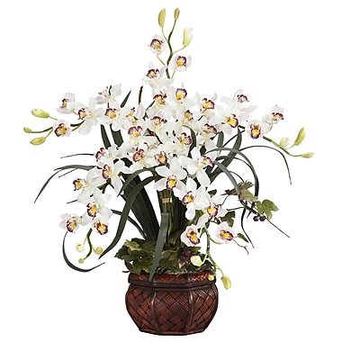 Nearly Natural 1245-WH Cymbidium Floral Arrangements, White
