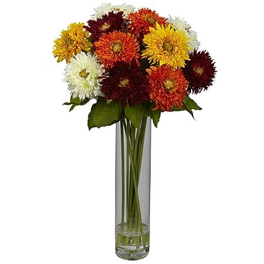 Nearly Natural 1246-AS Sunflower with Cylinder Floral Arrangements, Assorted