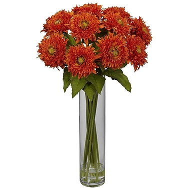 Nearly Natural 1246-OR Sunflower with Cylinder Floral Arrangements, Orange