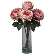 Nearly Natural 1247-PK Fancy Rose with Cylinder Floral Arrangements, Pink