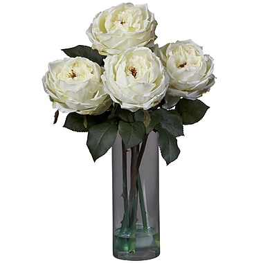 Nearly Natural 1247-WH Fancy Rose with Cylinder Floral Arrangements, White