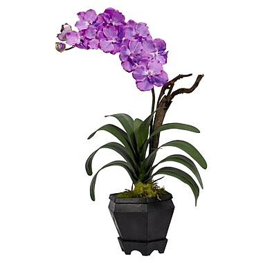 Nearly Natural 1252-PP Vanda Floral Arrangements, Purple