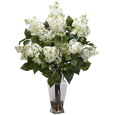 Nearly Natural 1256-WH Lilac Floral Arrangements, White